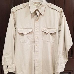 LL Bean Mens Hunting Camping Safari Shirt Khaki  L
